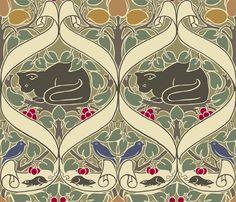"CFA Voysey's 1898 ""I Love Little Pussy"" wallpaper / In My Orchard is wide . - CFA Voysey's 1898 ""I Love Little Pussy"" wallpaper / In My Orchard is wide with a - Arts And Crafts Movement, Cat Wallpaper, Pattern Wallpaper, Art Nouveau Design, Art Deco, Textures Patterns, Print Patterns, Pattern Designs, Jugendstil Design"