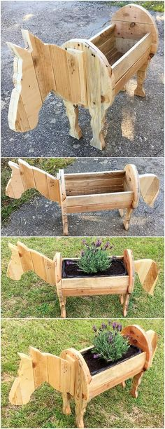 Do you ever thought about bringing the effect of horse planter design in your ho… - Pallet Diy Wood Pallet Planters, Pallet Garden Furniture, Diy Planters, Wooden Pallets, Planter Boxes, Into The Woods, Wooden Garden, Diy Pallet Projects, Wood Crafts