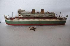 Rare Vintage Wind Up Huge / Big Litho Passenger Ship / Boat Tin Toy, Collectible
