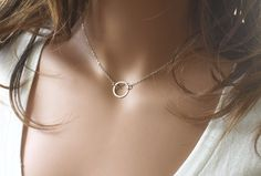Silver Circle Necklace Sterling Silver Circle by crystalglowdesign