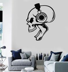 Wall Stickers Vinyl Decal Skull Listening Music In Headphones Decor (z1984)