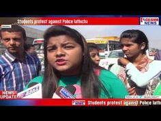 Students protest against Police lathicharge on them