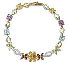 10k Yellow Gold and 3.96 ctw Multi-Gemstone Floral Bracelet