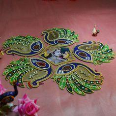 Creative Embroidery, Embroidery Designs, Acrylic Rangoli, Peacock Rangoli, Rangoli Colours, Shiva Parvati Images, Diwali Craft, Rangoli Designs Images, Image Shows