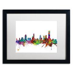 Melbourne Skyline II by Michael Tompsett Framed Graphic Art in White