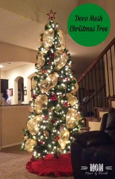 Image result for decorating a real christmas tree with mesh