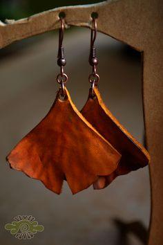 leather red gingko leaf earrings ~ livit vivid