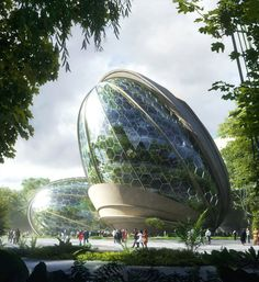 MOZSES - Art direction in architecture - Visual communication - digital visualization Futuristic Art, Futuristic Architecture, Sustainable Architecture, Mini Mundo, Arcology, Dome Greenhouse, Eco City, Eco Green, Glass Facades