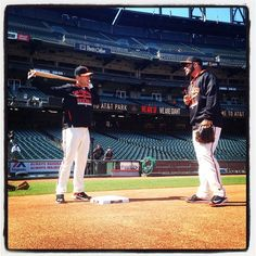 #sfgiants @busterposey and @g_kontos chat at third base during batting practice at #attpark. Photo by @punkpoint
