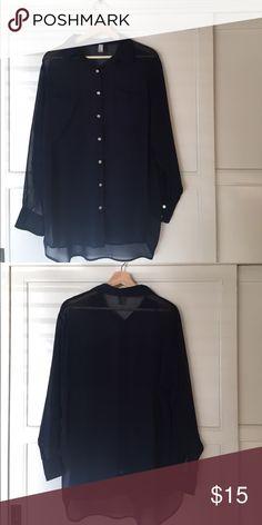 American Apparel navy chiffon button up 100% Polyester American Apparel Tops Button Down Shirts