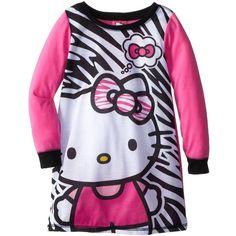 Hello Kitty Little Girls' Zebra Print Nightgown, Multi, 6 Pink Nightgown, Zebra Print, Birthday Shirts, Night Gown, Pink Girl, Toddler Girl, Fashion Brands, Little Girls, Hello Kitty