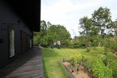 長いテラスと広い芝生の庭(『HDFの家』〜雑木林と語らう家〜)