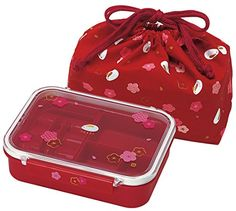 Japanese Compartmental Bento Lunch Box 550ml, Bag and Rice Ball Press (RED RABBIT BLOSSOM)
