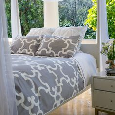 Great site for designer bedding | The Noe Gray Duvet Cover | Crane and Canopy