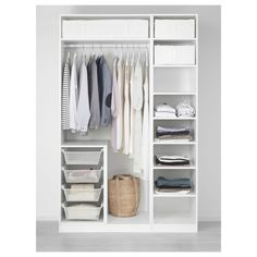 "IKEA - PAX, Wardrobe, 59x22 7/8x93 1/8 "", , 10-year Limited Warranty. Read about the terms in the Limited Warranty brochure.You can easily adapt this ready-made PAX/KOMPLEMENT combination to suit your needs and taste using the PAX planning tool.If you want to organize inside you can complement with interior organizers from the KOMPLEMENT series.Adjustable feet make it possible to compensate for any irregularities in the floor."