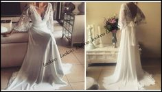 Gorgeous Lace A Line Chiffon Long Wedding Dresses With Juliet Sleeves 2016 Spring High Quality V Neck Sexy Bridal Boho Bridal Gowns Backless Unusual Wedding Dresses Vintage Inspired Dresses From Lookoo, $113.08| Dhgate.Com