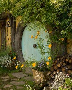 Blue Hobbit hole door