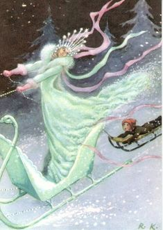 """""""Classic Illustration of the original tale: Kai and the Snow Queen. _ Illustrated by Rudolf Koivu, 1940 H. Andersen: The Snow Queen. Rudolf Koivu was Finnish artist, who mainly illustrated fairy tales. Fairytale Art, Hans Christian, Snow Queen, Children's Book Illustration, Book Illustrations, Grimm, Fantasy Art, Fairy Tales, Drawings"""