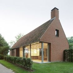 by the Dutch firm Bedaux de Brouwer Architecten / Photos by Filip Dujardin. / A Rural Modern House Added on to A Classic Barn - Design Milk Brick Architecture, Residential Architecture, Japanese Architecture, Style At Home, Modern Brick House, Brick Houses, Small Farmhouse Plans, Modern Farmhouse, Rural House