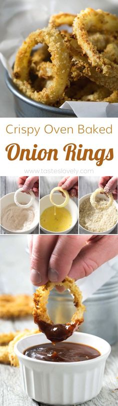 Crispy Oven Baked Onion Rings: note do whole wheat bread crumbs, have onions be in water before flower, bake 10 on each side I Love Food, Good Food, Yummy Food, Onion Recipes, Baking Recipes, Baked Onion Rings, Healthy Onion Rings, Onion Rings Recipe, Tapas