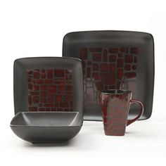 Gibson Elite Cabazon 16-Pc. Stoneware Dinnerware Set - Red, Service for 4