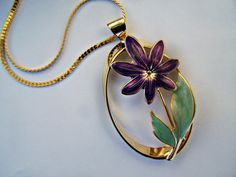 Vintage Fashion Jewelry Purple Enamel Daisy by papercherries