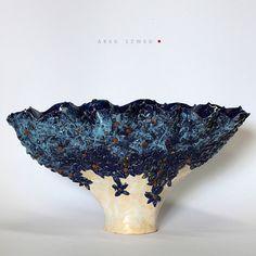A lot of blue flowers/ Unique Ceramic Figurine/Ceramic vase -Ceramic Arek Szwed