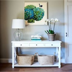 Oak console table - 3 drawers home decor entryway console ta Decor, Oak Consoles, Living Room Furniture, Hamptons Living Room, Table Design, Table Style, White Console Table, Entryway Decor, Home Decor