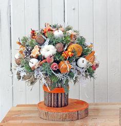 Купить Апельсиновый букет - рыжий, апельсиновый букет, зима, зимняя композиция, подарок на новый год