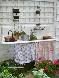 Love this sink potting bench!
