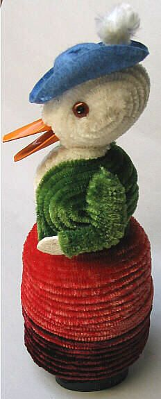 vintage Easter...chenille duck candy container