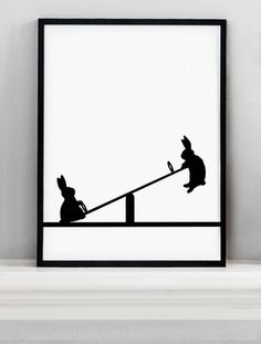 Seesawing Rabbit Screen Print