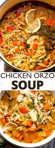 Juicy shredded chicken breast, tender orzo pasta, and a hearty broth spiked with fresh lemon juice make this Chicken Orzo Soup a family favorite! Chicken Corn Chowder, Chicken Orzo Soup, Chicken Soup Recipes, Best Soup Recipes, Dinner Recipes, Healthy Recipes, Healthy Soups, Healthy Lunches, Family Recipes