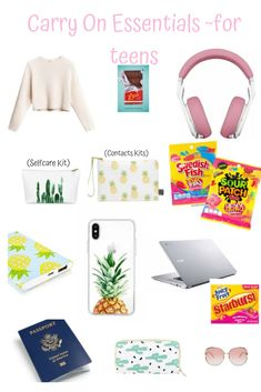 Carry On Essentials~for teens Carry On Essentials For Teens, Travel Essentials List, Airplane Essentials, Travel Packing Checklist, Road Trip Packing List, Road Trip Hacks, Travel Hacks, Road Trips, Anel Harry Potter