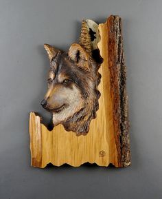 Wolf Carved on Wood Wood Carving Linden Tree with Bark Hand Made Gift Wall Art…