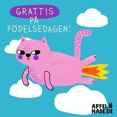 Ein kleines HAPPY BIRTHDAY-Feuerfurz-Kätzchen in Schwedisch für meine liebe Cousine Barbro!