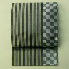 Ichimatsu pattern, rokutsu, vintage fukuro obi / 黒地粋でお洒落な縞と市松柄六通袋帯