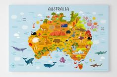 Teach your child about Australia with Pictureta's map of Australia canvas print. Australia map features states and territories, capital cities, Australian animals and sea creatures, agriculture and landmarks. Map of australia for kids, australia for kids, physical map of australia, facts about australia for kids
