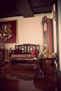 A Traditional South Indian Home With Beautifully Carved Furniture