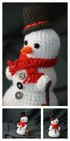 Amigurumi Small Snowman Free Pattern – Amigurumi Free Patterns And Tutorials Crochet Dolls Free Patterns, Christmas Crochet Patterns, Crochet Toys, Free Crochet, Crochet Buttons, Knitted Blankets, Amigurumi Doll, Hello Dear, Snowman