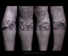 Yanina Viland waves and mountains landscape blackwork tatoo