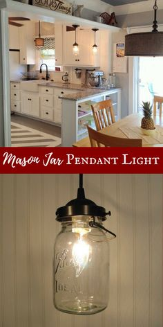 I've been looking for a mason jar light! This is exactly what I need to complete the farmhouse look in my kitchen. #masonjardecor #ad #farmhousestyle #farmhousekitchen