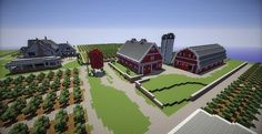 Minecraft Farm house red barn - good to have farm house a different style from the barns