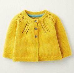 Cosy Baby Cardigan 71528 Knitwear at Boden Cardigan Bebe, Knitted Baby Cardigan, Knit Baby Sweaters, Knitted Baby Clothes, Yellow Cardigan, Knitting For Kids, Baby Knitting Patterns, Baby Patterns, Baby Outfits