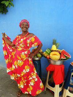 Vendedora de frutas en la Cartagena antigua