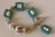 Turquoise Handmade Beaded Bracelet Glass by bdzzledbeadedjewelry, $33.00