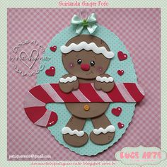 Doce Arte by Pati Guerrato: 2016 Christmas Card Crafts, Christmas Candy, Xmas Cards, Christmas Decorations, Christmas Ornaments, Gingerbread House Parties, Gingerbread Crafts, Christmas Gingerbread, 242