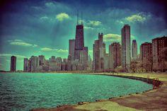 Chicago Skyline - Aqua - North Ave Beach, Oak Street Beach