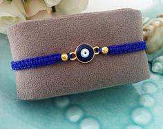 PROMO mal de ojo pulsera - azul cadena pulsera - joyas - pulsera ajustable - azul de mal de ojo mal de ojo encanto - Turco nazar