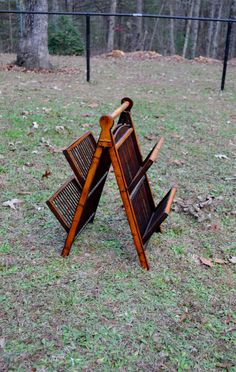 Vintage Bamboo Magazine Rack Holder Folding by PanchosPorch